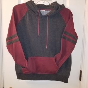 BURGUNDY AND GRAY HOODIE SIZE LARGE